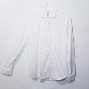 ASFALTO White Button Dress Shirt Medium